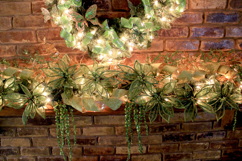 Christmas Mantel Decorating Ideas   Amazing Christmas Ideas green mantel theme close up of green mantel decorations