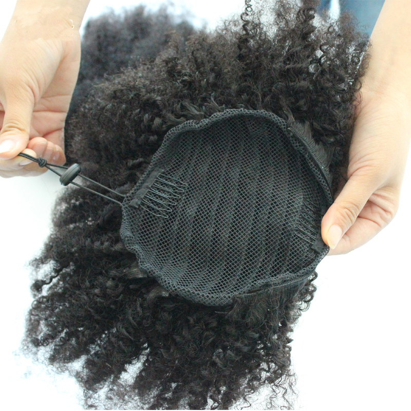 Afro Kinky Curly Ponytail Human Hair Extensions Drawstring