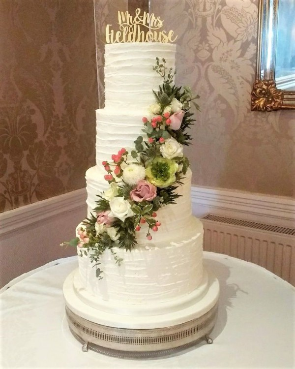 Vintage Buttercream Ruffle Wedding Cake   Amazing Grace Cakes     A     What could be more delicious and a feast for the eyes than this buttercream  ruffle coated wedding cake  All freshly made we delivered this cake to the