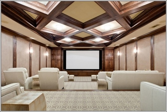 Home Theatre Designs For Movie Lovers  This home theatre is giving a sense of freedom with its spacious design and  a ceiling that has wooden work and lighting contrasting so well with the  white
