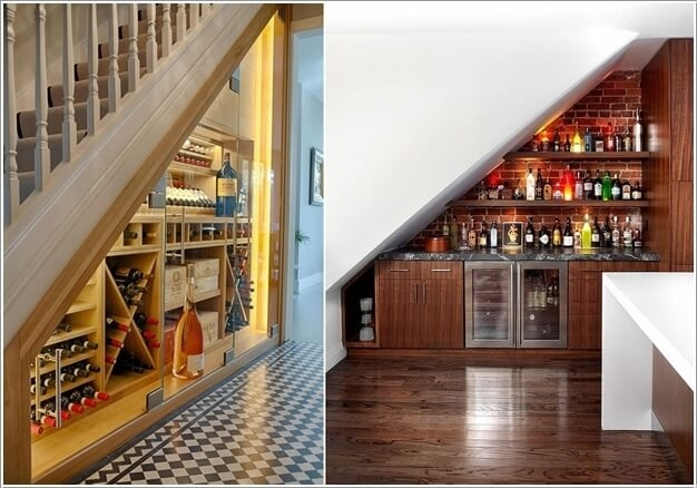 Decorate And Claim The Space Under The Stairs | Bar Under Stairs Design | Stair Storage | Basement Remodeling | Floating Shelves | Space | Escaleras
