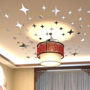 Shine Stars Decoration Glass Ceiling Reflective Diy 3D Mirror Effect Wall Stickers