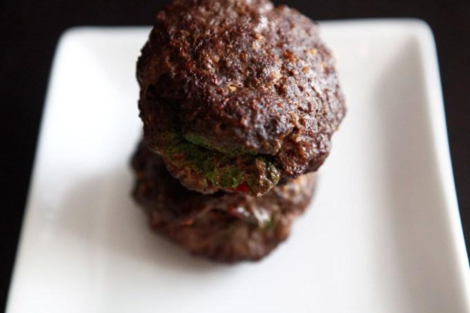Bacon Pesto Stuffed Burgers