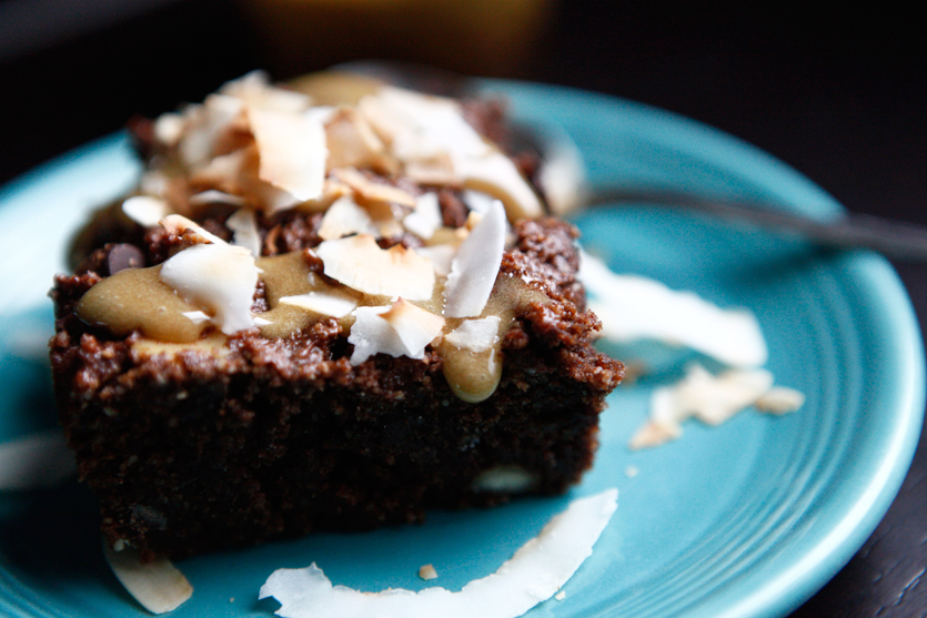 Brownies with Caramel and Toasted Coconut Flakes recipe