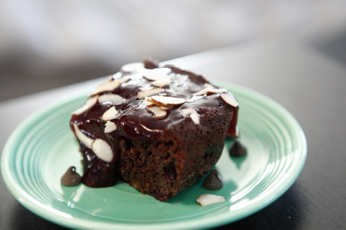 Blueberry Brownies with Very Berry Sauce
