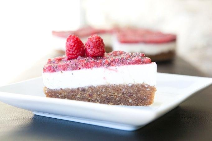 RAW Raspberry Chia Paleo Cheesecake