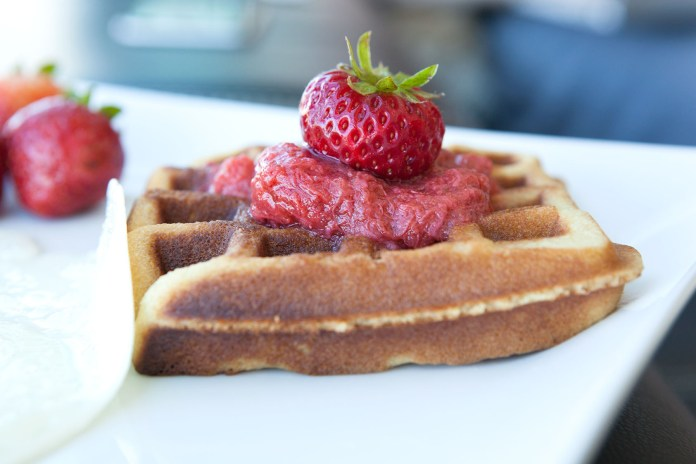 Strawberry Macadamia Nut Paleo Waffles