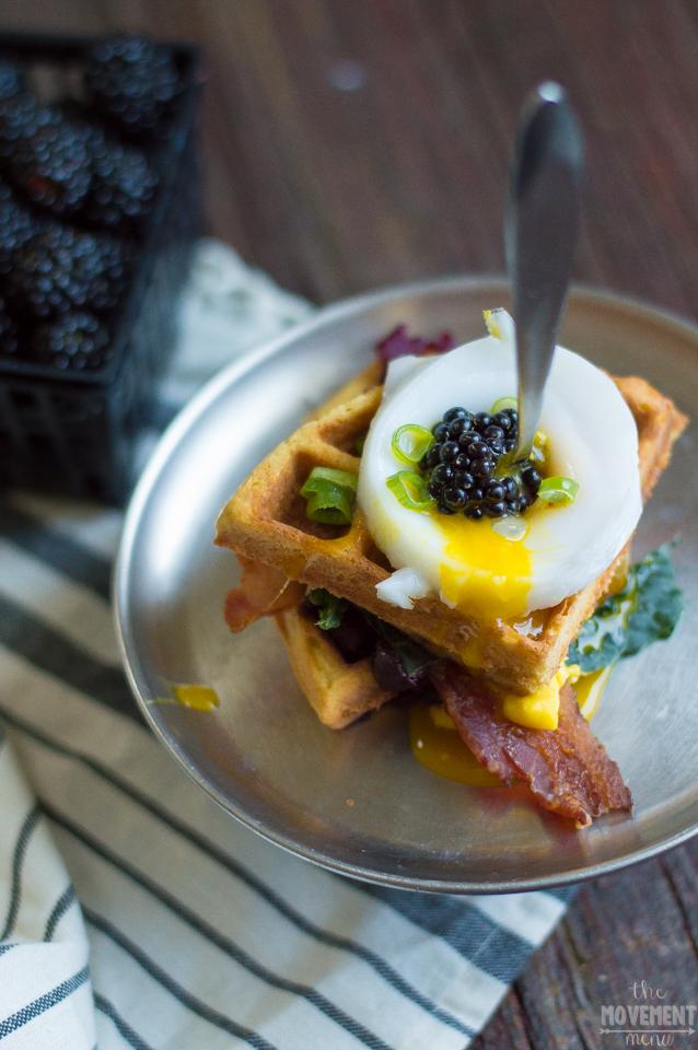 Sweet & Savory Waffles Benedict Stacks