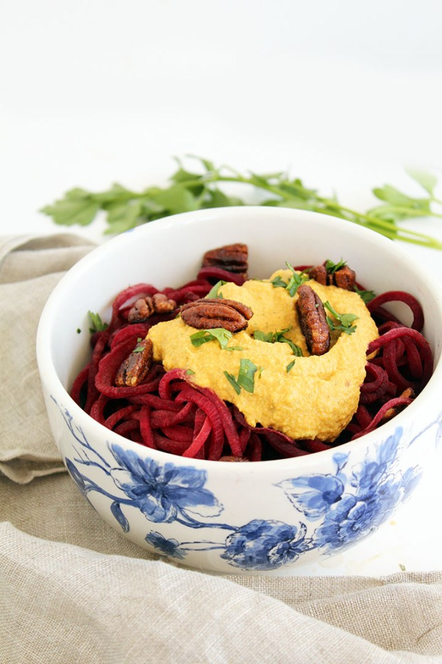 BEET NOODLE PUMPKIN ALFREDO WITH SPICED PECANS
