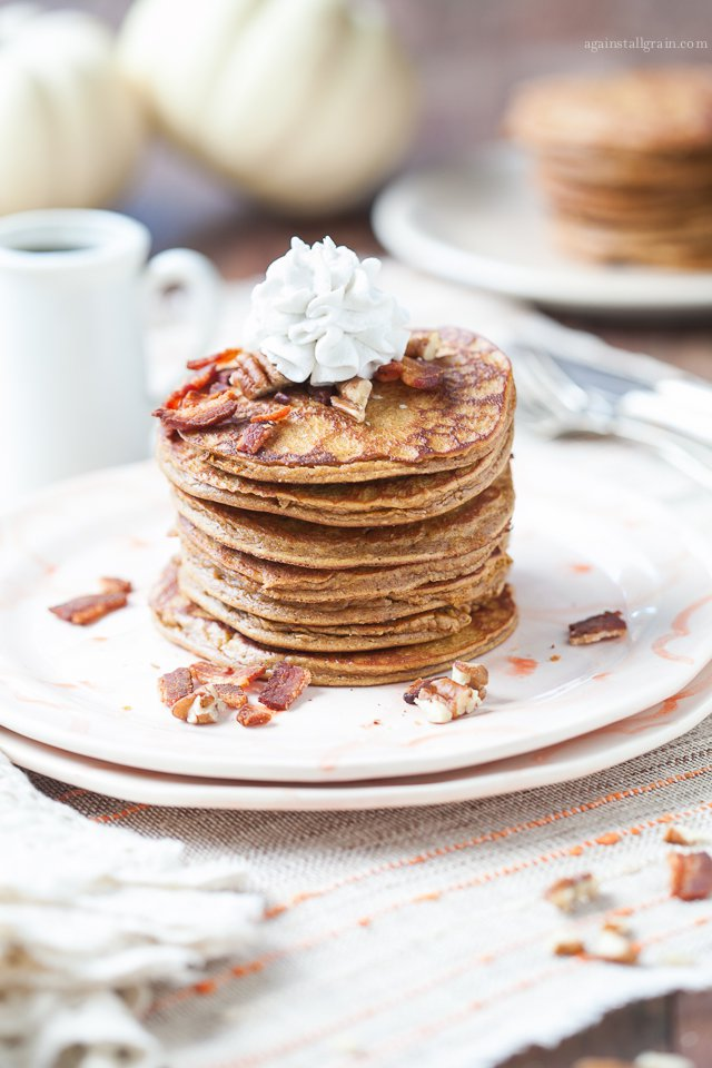 PUMPKIN PANCAKES WITH BACON AND PECANS