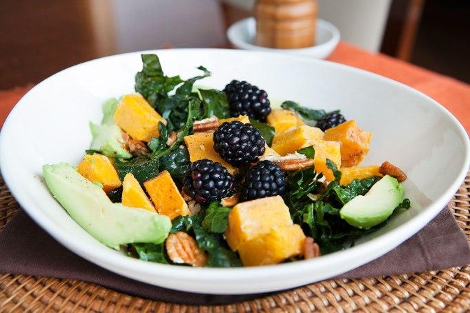 Massaged Kale and Roasted Squash Winter Salad with Maple Vinaigrette