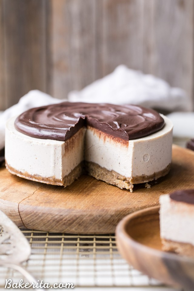 NO-BAKE VANILLA BEAN CHEESECAKE WITH CHOCOLATE GANACH