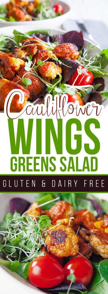 Cauliflower Wings Greens Salad