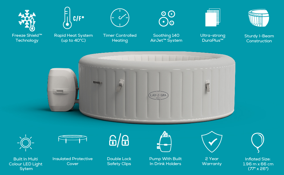 Inflatable hot tub with a range of premium features