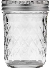 Mason Ball Jelly Jars-8 oz. each - Quilted Crystal Style-Set of 12