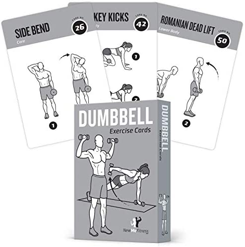 "Exercise Cards Dumbbell Home Gym Strength Training Building Muscle Total Body Fitness Guide Workout Routines Bodybuilding Personal Trainer Large Waterproof Plastic 3.5""x5"" Burn Fat 3"