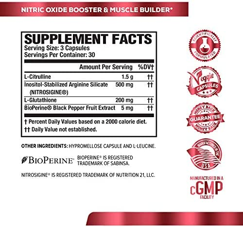 N.O. XT Nitric Oxide Supplement With Nitrosigine L Arginine & L Citrulline for Muscle Growth, Pumps, Vascularity, & Energy - Extra Strength Pre Workout N.O. Booster & Muscle Builder - 90 Veggie Pills 7