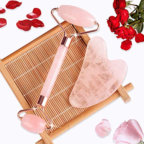 Jade Roller & Gua Sha, Face Roller, Facial Beauty Roller Skin Care Tools, BAIMEI Rose Quartz Massager for Face, Eyes, Neck, Body Muscle Relaxing and Relieve Fine Lines and Wrinkles 4