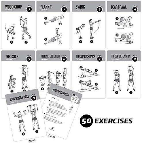 "Exercise Cards Dumbbell Home Gym Strength Training Building Muscle Total Body Fitness Guide Workout Routines Bodybuilding Personal Trainer Large Waterproof Plastic 3.5""x5"" Burn Fat 4"
