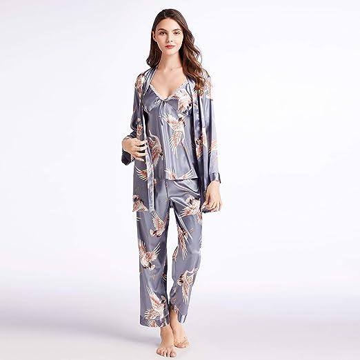 Women's Silky Satin Pajamas 3pcs with Belt