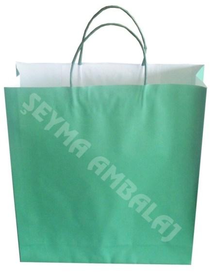 burgu saplı beyaz kraft poşet yeşil