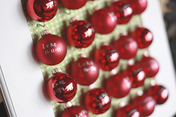close up advent calendar with mini ornaments