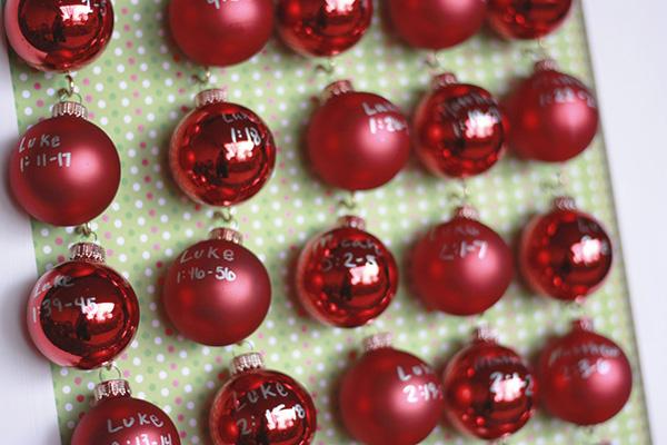 close up mini ornaments advent calendar