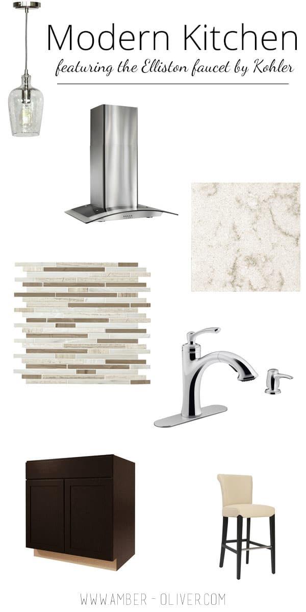 Modern Style Kitchen Ideas featuring the Elliston faucet by Kohler