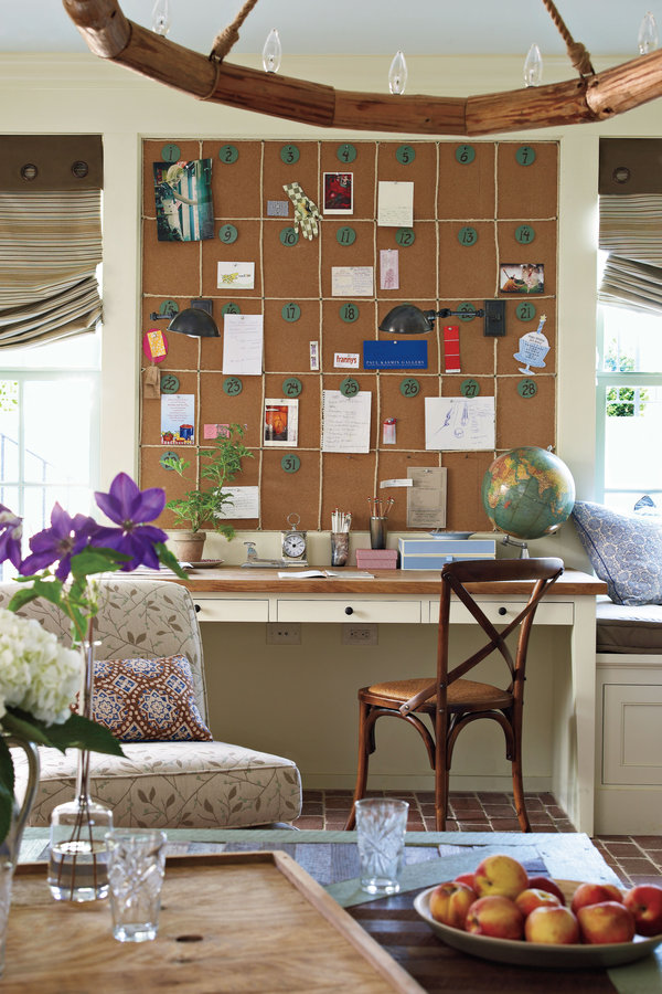cork wall by southern living http://www.southernliving.com/home-garden/idea-houses/southern-living-senoia-georgia-idea-house/calendar