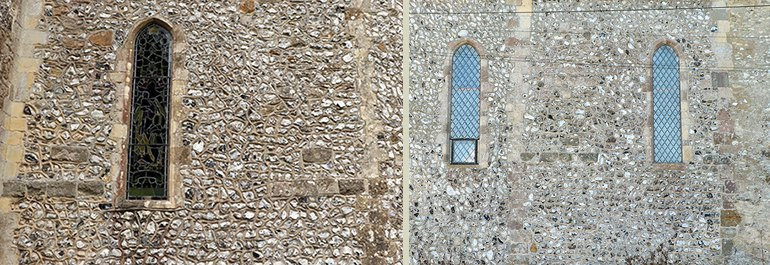 Chancel walls, Comparison of south (left) and north (right)