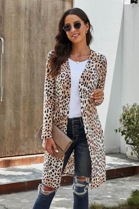 Gillian Women's Long Sleeves Leopard Print Knitting Cardigan Outwear