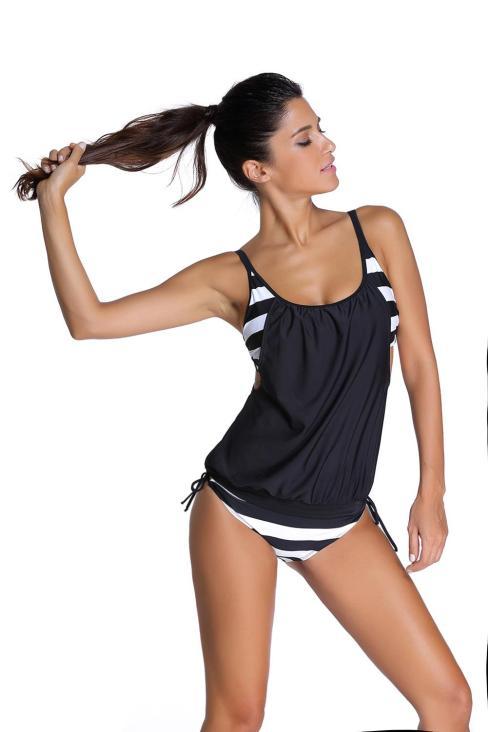 Annie Women's Stripes Layered-Style Cross Tankini Swimsuits Set Black