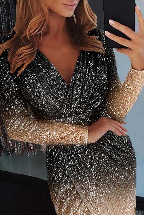 Azores Women's V Neck Long Sleeves Sequin Wrapped Ruched Irregular Dress Black Ombre