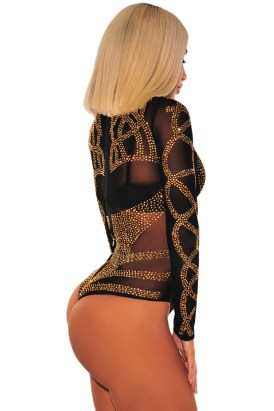 Byron Womens Sexy Sheer Striped Long Sleeve Bodysuit Black Gold