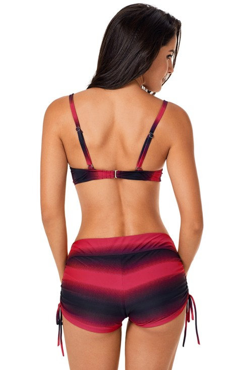 Demeter Women's Shading Push Up Bikini Swimsuits and Boardshort Red Black