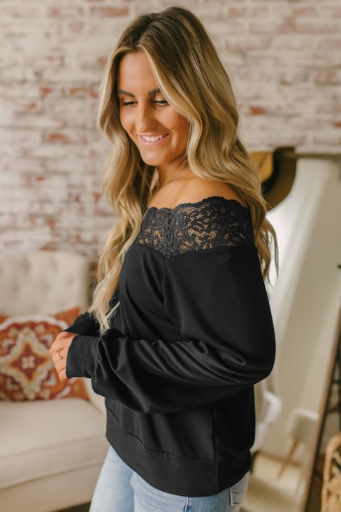 Dorothy Women's Lace Boat Neck Pullover Blouse Black