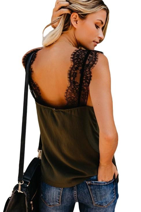 Jill Womens Lace V-Neck Sleeveless Lace Cami Tank Black