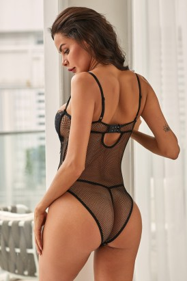 Pippa Women One Piece Lingerie Lace Fishnet Teddy Bodysuit White