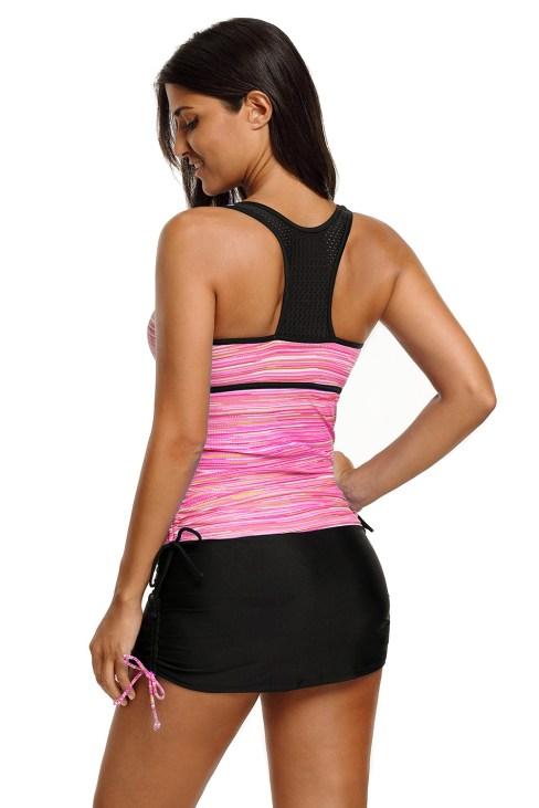 Aleksa Womens Purplish Stripe Color Block Tankini Top and Bottom Set Swimsuit