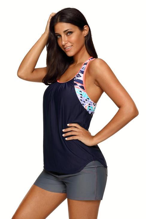 Amber Women's Blouson Floral T-Back Push Up Tankini Top Black