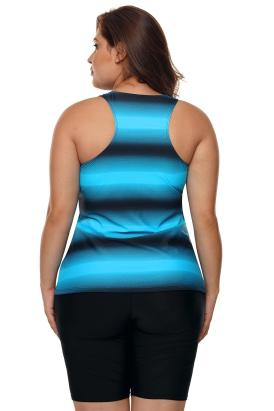 Henley Womens Color Block Print Racerback Plus Size Tankini Swimsuit Blue