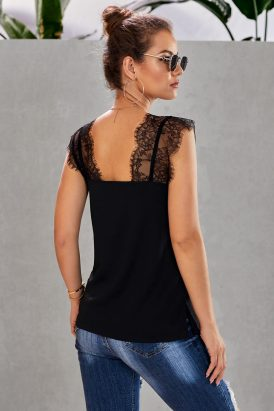 Jill Womens Lace V-Neck Sleeveless Lace Cami Tank Black