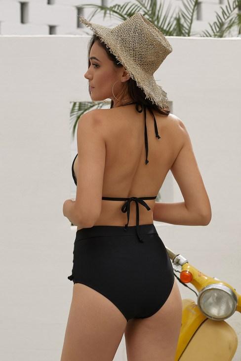 Lila Women's Mesh High Waist Tassel Halter Bikini Swimsuit Set White