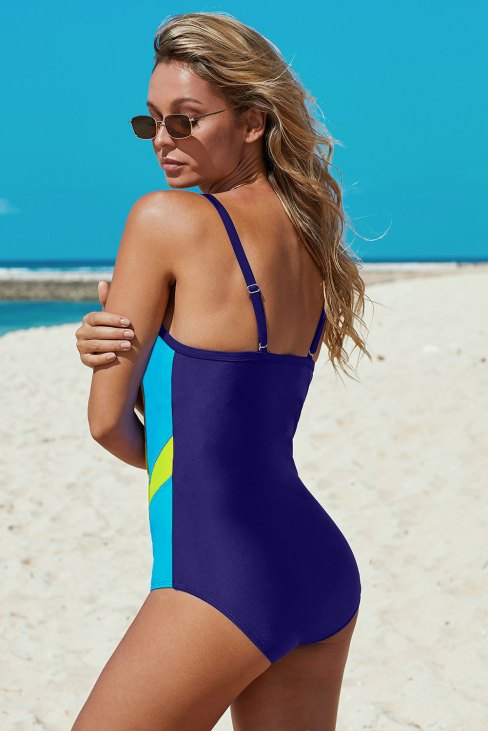 Alissa Women's Athletic Color Block Spaghetti Straps One-piece Swimsuit Black