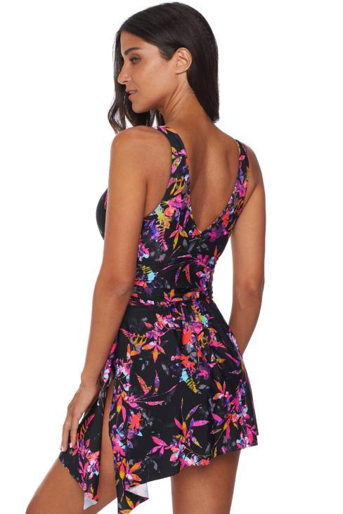 Lisanne Women's Sexy Deep V Flower Printing One Piece Swimdress Swimsuit Multicolor