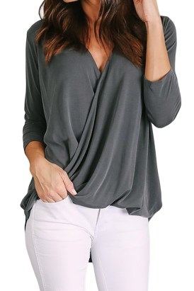 Marcia Women V-Neck Wrap Hi-lo Hem Blouse Black