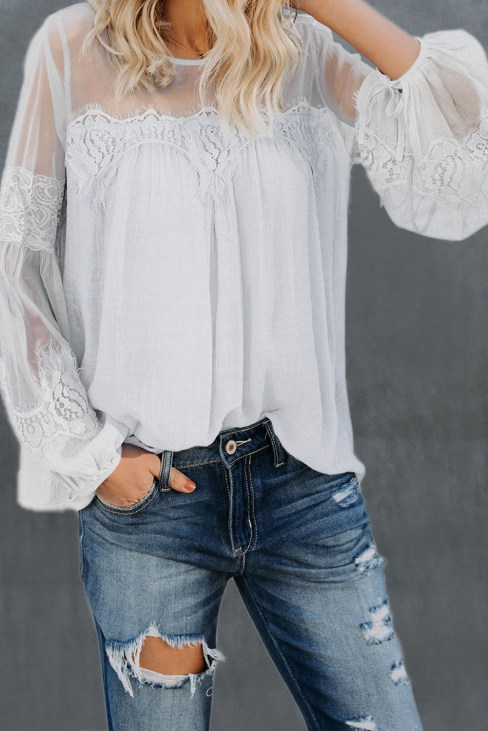 Madrie Women's Lantern-Sleeve Crew Neck Lace Patchwork Top White