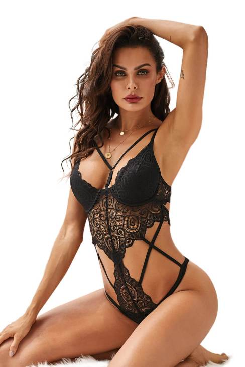 Midnight Women's Sexy Lace Bodysuit Adjustable Strap Lingerie Black
