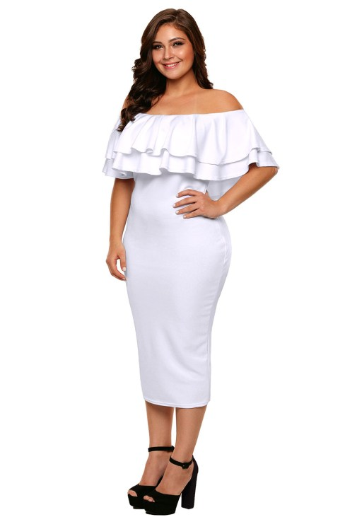 Rochelle Women's Layered Ruffle Off Shoulder Bodycon Plus Size Dress White