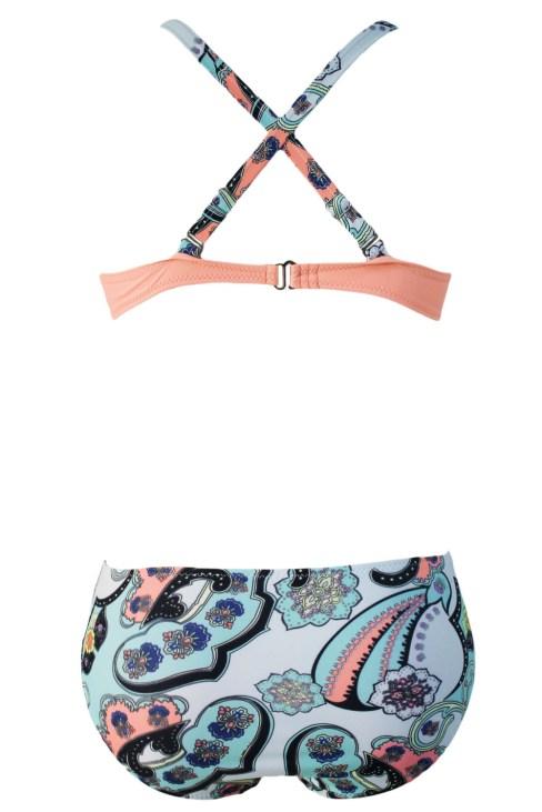 Plaid Red Padded Gather Push-up Two Piece Bikini Swimsuits Set